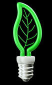 Eco friendly technology: green leaf or folium light bulb — Stock Photo