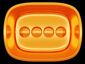 Golden button or control over black background — Stock Photo