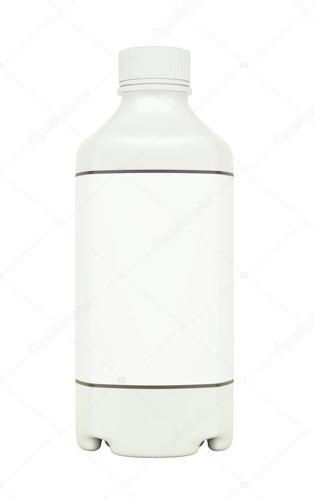 White plastic bottle for fluid or drugs isolated on white  Stock Photo #14056603