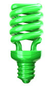 Green light bulb: efficiency and eco friendly technology — Stock Photo
