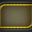Stock Photo: Black leather background with golden metallic grill