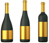 Three black bottles for wine with golden labels isolated — Stock Photo