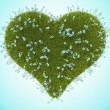 Green grass heart with forget-me-not flowers — 图库照片
