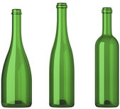 Three empty uncorked bottles for wine isolated — Stock Photo