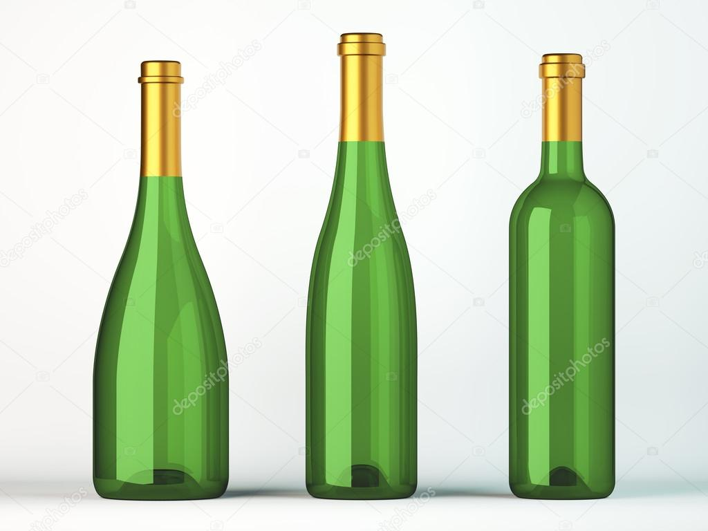 Three green bottles for wine with golden labels on white — Stock Photo #15355703