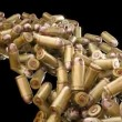 Ammo and weapon: bullets flow with slow motion — Stok video