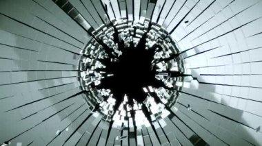 Bullet hole: Broken mirror glass slow motion destruction — Stock Video
