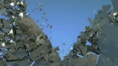 Freedom: Shattered wall with slow motion and blue sky — Stock Video