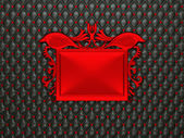 Black leather background with red stucco moulding frame for capt — Stock Photo