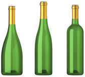 Three green bottles for wine with golden labels isolated — Stock Photo