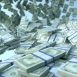 US dollar bundles slow motion flow and blue sky. Alpha matte — Stock Video