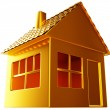 Stock Photo: Costly realty: golden house shape isolated