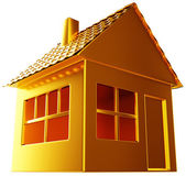 Costly realty: golden house shape isolated — Stock Photo