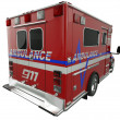 Foto Stock: Ambulance: Rear view of emergency services vehicle on white