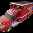 Stock Photo: Ambulance: Top Side view of emergency services vehicle on black