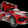 Stock Photo: Ambulance: wide angle view of emergency services vehicle on blac