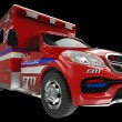 Ambulance: wide angle view of emergency services vehicle on blac — Stock Photo