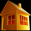 Stock Photo: Costly realty: golden house shape on black