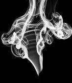 White abstract smoke or fume shape on black — Stock Photo