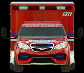 Ambulance: Front view of emergency services vehicle — Stock Photo