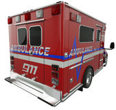 Ambulance: Rear view of emergency services vehicle on white — Stock Photo