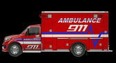 Ambulance: Side view of emergency services vehicle over black — Stock Photo