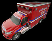 Ambulance: Top Side view of emergency services vehicle on black — Stock Photo