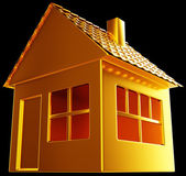 Costly realty: golden house shape on black — Stock Photo