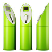 Eco fuel and energy: three charging stations for vehicles — Stock Photo