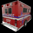 Stock Photo: Ambulance: Rear view of emergency services vehicle on black