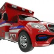 Stock Photo: Ambulance: wide angle view of emergency services vehicle on whit