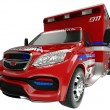 Emergency services vehicle: wide angle view of on white — Stockfoto