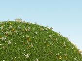 Treasure land: green planet with diamond flowers — Stock Photo