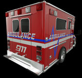 Ambulance: Rear view of emergency services vehicle on black — Stock Photo