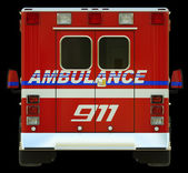 Ambulance: Rear view of emergency services vehicle — Stock Photo