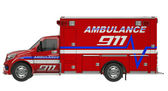 Ambulance: Side view of emergency services vehicle over white — Stock Photo