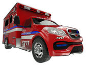 Ambulance: wide angle view of emergency services vehicle on whit — Stock Photo