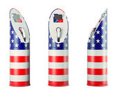 Eco fuel: isolated charging stations with USA flag pattern — Stock Photo