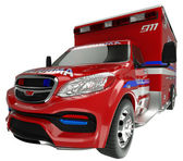 Emergency services vehicle: wide angle view of on white — Stock Photo