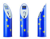 Eco fuel: isolated charging stations with EU flag pattern — Stock Photo