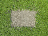 Environment: green grass frame and gravel patch — Stock Photo