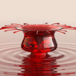 Splash of cherry juice or wine with droplets — Stock Photo