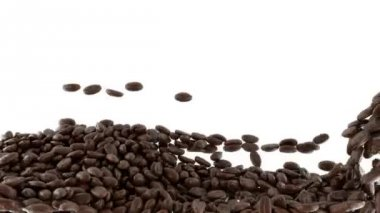 Roasted Coffee beans mixing with slow motion — Vídeo Stock