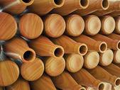 Storage of many wooden bottles — Stock Photo