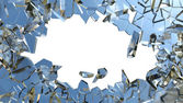 Blue smashed glass pieces — Stock Photo