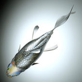 Glass fish over grey — Stock Photo