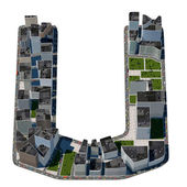 City in the form of letters U — Stockfoto