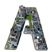 City in the form of letters A — Stock Photo