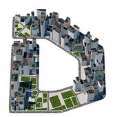 City in the form of letters D — Stock Photo