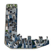 City in the form of letters L — Stock Photo
